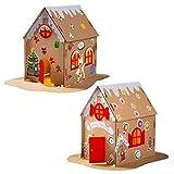 TOYANDONA 2 Juegos de Navidad de Papel Iluminado Casa de Jengibre Kits de Bricolaje Navidad Led Light up Biscuit Cookie House Adornos de Navidad Decoración