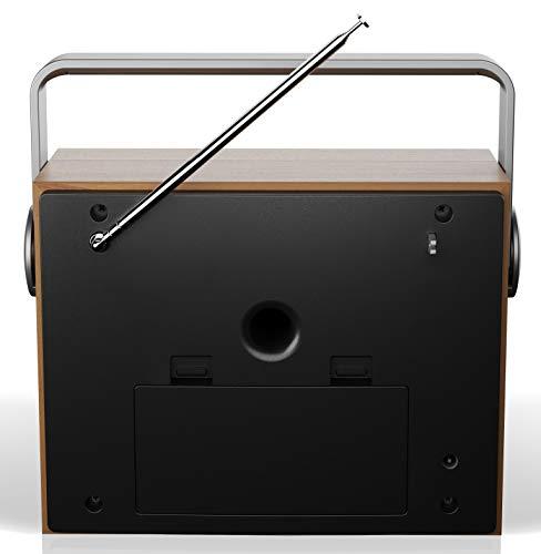 SHARP DR-P350 DAB+ Digital Radio, DAB/DAB +/FM mit RDS-Lauftext, Alarm-/Schlaf und Snooze Funktion, Braun