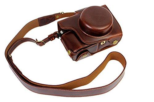 Protección completa inferior abertura de la caja Versión PU de protección de la cámara del bolso de cuero con el trípode Diseño compatible para Olympus OM-D E-M10 Marcos 2 EM10 Mark II con 14-42mm F3.5-5.6 lente EZ con la correa del cuello del hombro de la correa de Brown oscuro