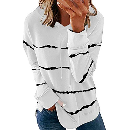 Women's Casual Tie-Dye Hooded Pullover,Memela Womens Long Sleeve Striped Drawstring Hoodie Sweatshirts Tops Soft T-Shirts White