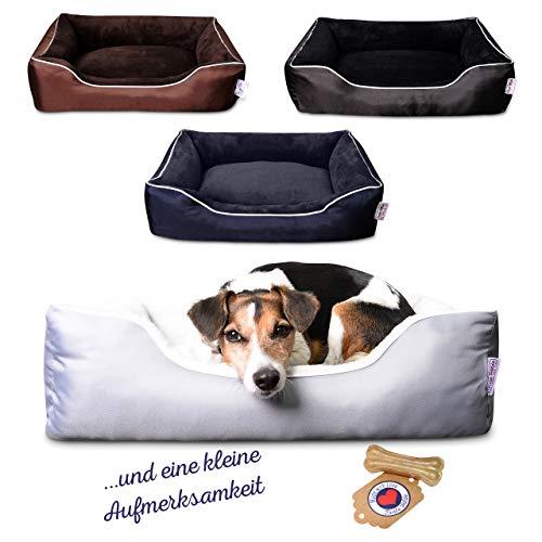 Tante Hilde Hooge Hundebett für kleine Hunde Waschbar, Robust, Pflegeleicht & Mega Kuschelig! (Grau)