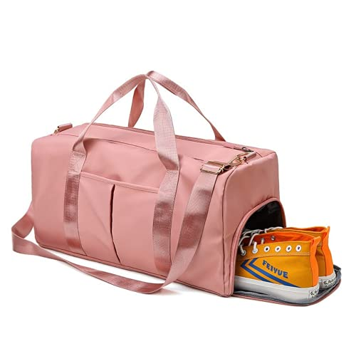 Bolsa de deporte para gimnasio, separada, impermeable, grande, deportiva, con compartimento para zapatos, para deporte, viajes, natación, yoga, senderismo, camping para mujer, Pink, Large,