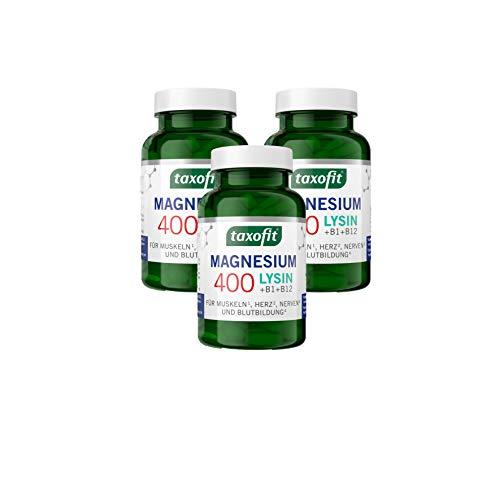 taxofit Magnesium 400 Lysin + für Muskeln, Nerven, Herz und Energie | ohne Gluten | Nahrungsergänzungsmittel (270 Tabletten)