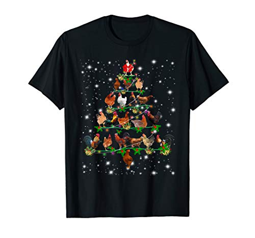 Funny Chickens Christmas Tree Tee Ornament Decor Gift T-Shirt