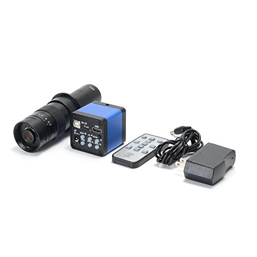 HAYEAR 16MP Full HD 1080P 60FPS HDMI USB Output Industry C-Mount Microscope Video Camera Remote Control +180X Zoom C-Mount Lens