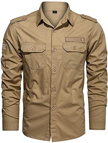 Camisas de manga larga para hombre Color sólido Slim Cargo Jacket Classic Single Breasted