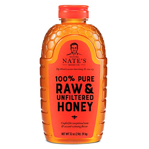 Nature Nate's 100% Pure, Raw & Unfiltered Honey, 32 oz. Squeeze Bottle; All-natural Sweetener, No Additives (Packaging may vary)