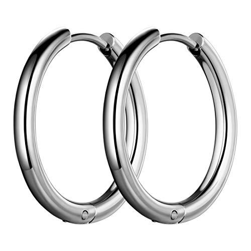 Hoop Earrings Mens 316L Stainless Steel Men Fashion 18mm Wide Hoops Earring Black Gun Plated Hip-hop Streetwear Jewelry SE0005G-18