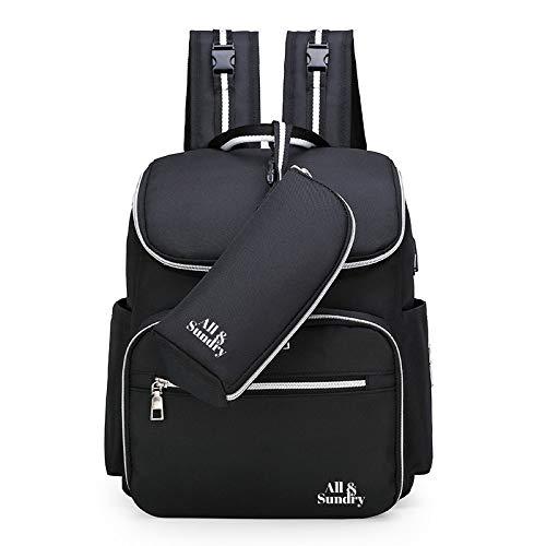 Mochila cambiador, bolsa de pañales para bebé, mochila para pañales, mochila cambiador, mochila para pañales, mochila multifuncional, impermeable, bolsa de viaje con puerto USB, gran capacidad (negro)