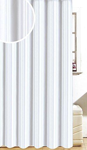 Dove satiné à Rayures Doux Tissu Polyester Rideaux de Douche/Bain avec Crochets, Blanc