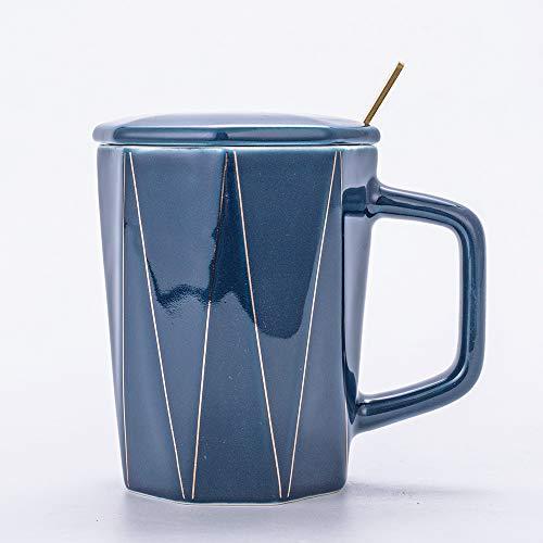 Xiaobing Taza de cerámica geométrica Creativa con Tapa y Cuchara Taza de café Regalo Pareja Taza de Agua Rayas -set-blue-400ml-G900