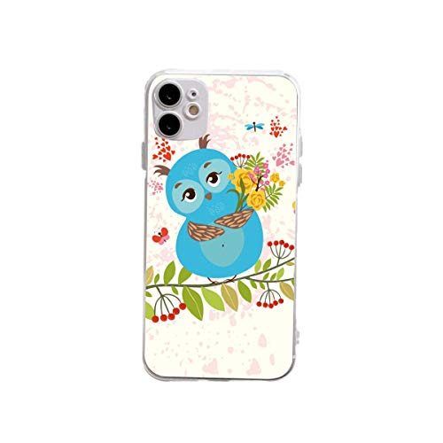 XUJIAHUI Funda transparente para iPhone 12 y 12 y iPhone 12 Pro Lovely Owl Funda protectora a prueba de golpes Funda de goma suave para teléfono de tres tamaños