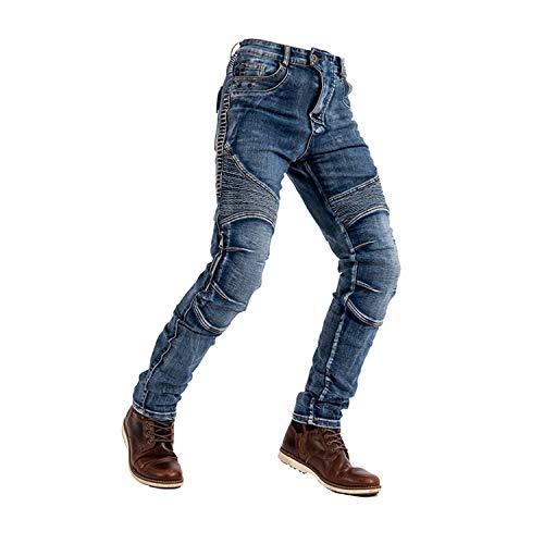 Herren Motorrad-Reit-Jeans, mit 4 abnehmbaren Schutzpolstern, Kevlar-Stretch, Anti-Sturz-Fahrradhose, Fahrradhose (Hellblau, M)