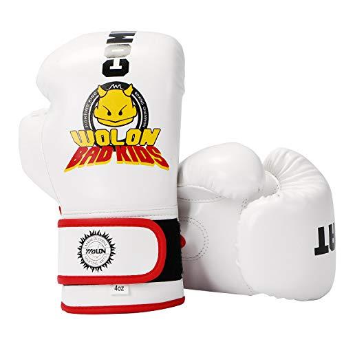 HUINING Gants de Boxe pour Enfants de 3 à 15 Ans Cuir PU Motif Dessin animé, Blanc, 4OZ