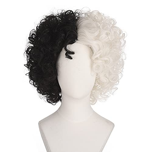 Short Curly Black and White Cruella deVil Cosplay Wig Women Heat Resistant Role Play Hair Wig for Halloween