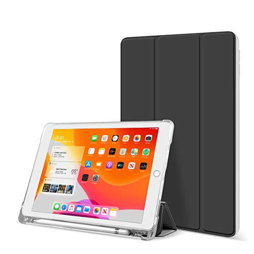 ZOYU Case for iPad 10.2 Inch 2019 iPad 8th Gen 2020 - Lightweight Trifold Stand Smart Shell with Pencil Holder Rugged Translucent Back Cover for iPad 7th Generation/iPad 8th Generation 10.2 (Black)