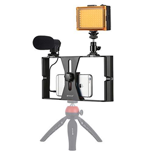Video Live Bracket 3 in 1 Vlogging live uitzending LED selfie Light Smartphone Video Rig Kits met microfoon + Cold Shoe statiefkop (Color : Red)