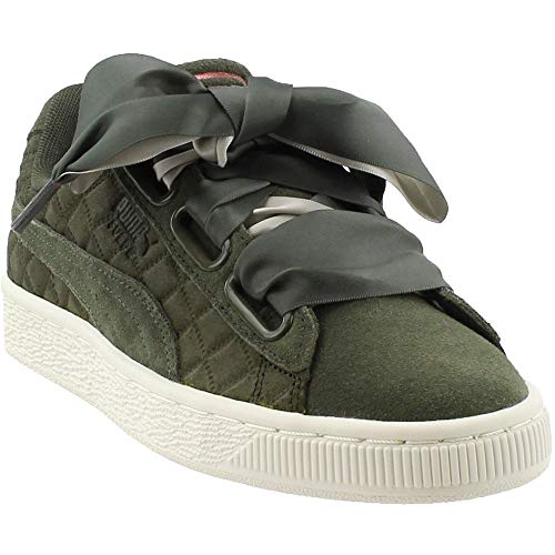 PUMA Womens Suede Heart Quilt Casual Sneakers, Green, 8