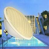 KWODE Luz de piscina, 36W PAR 56 LED Lámpara de luz subacuática para piscina, Luz blanca cálida impermeable para estanque de piscina interior al aire libre, 3000K DC 12V