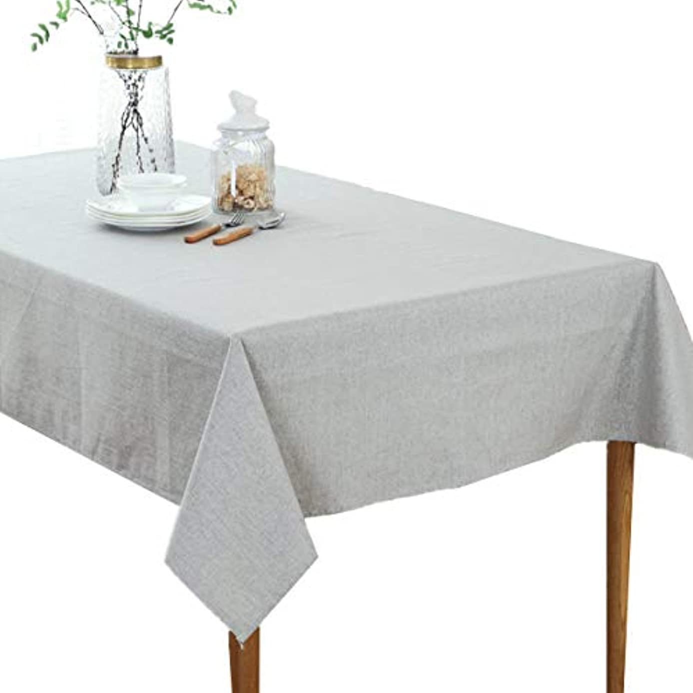 Bettery Solid Cotton Linen Tablecloth Simple Style Pure Color Rectangular Table Cover for Dining Room Kitchen Decoration 47 x 63 inches Gray