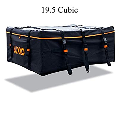 Auxko Car Roof Bag 19.5 Cubic Feet Rooftop Cargo Carrier 100% Waterproof Fits All Vehicle with/Without Rack
