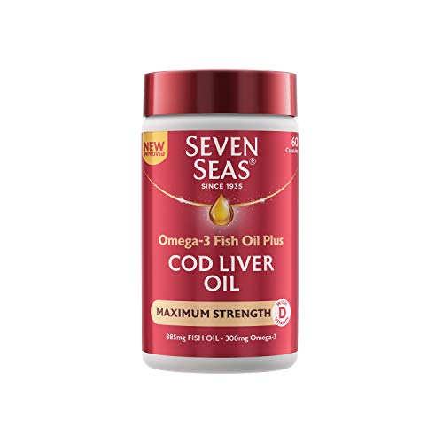 Cod Liver Oil Maximum Strength by Seven Seas, Omega-3 Supplement Supporting Brain, Heart, Vision, & Vitamin D for Immune System, Muscles & Bones, 60 Capsules