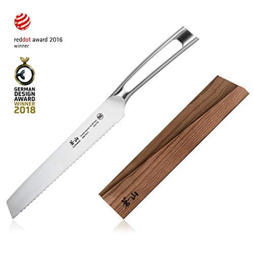 Cangshan TN1 Series 1021745 Swedish Sandvik 14C28N Steel Forged 8-Inch Bread Knife and Wood Sheath Set