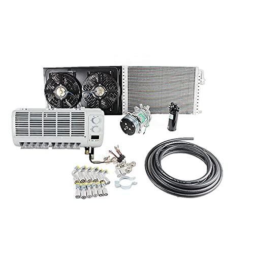 Aire acondicionado universal de pared 12V 24V sistema de clima adecuado para camiones pesados, furgonetas, tractores, excavadoras, vehículos de construcción (12V)