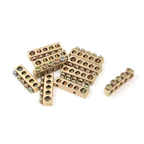 MTMTOOL Terminal Ground Bar 5 Positions Electrical Wire Screw Terminal Ground Copper Grounding Bars Pack of 10