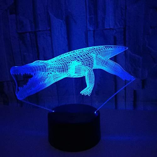 Nachtlampje 3D illusie, optische LED krokodillamp tafellamp LED 7 kleuren touch lamp voor thuis kantoor decoratie voor kinderen verjaardag
