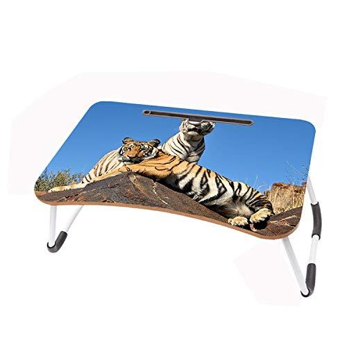 LYWUSUZE Escritorio Plegable para Computadora Portátil 2 Tigres En La Roca En La Mesa De Lectura del Sofá Cama (60 x 40 cm)