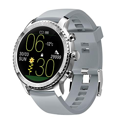 Tinwoo Smart Watch for iPhones / Android, Support Wireless Charging, Bluetooth Health Tracker with Heart Rate Monitor, Digital Smartwatch for Women Men, 5ATM Waterproof (TPU Band Grey)
