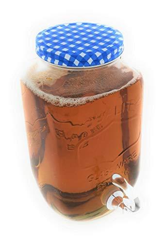 MC Trend 3 Liter Glas Getränkespender für den Kühlschrank mit Zapfhahn Wasser Saft Cocktail Getränke Sommer Party Feier (Getränkespender Karodeckel BLAU)