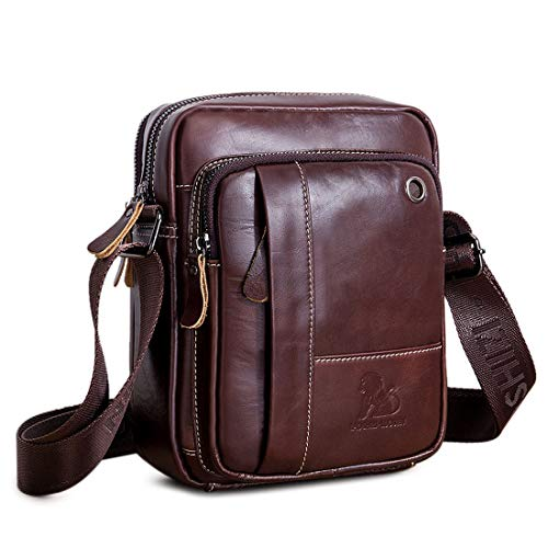 BAIGIO Men's 100% Genuine Leather Cross Body Bag Casual Messenger Satchel Side Bag for Wallet Purse Mobile Phone Keys (Coffee)