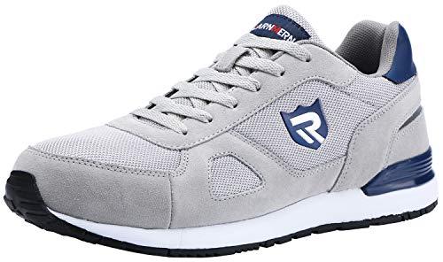 LARNMERN Zapatos de Seguridad Hombre Mujer con Puntera de Acero Zapatilla, Antideslizante ESD Comodos Calzado de Trabajo Industrial (Gris 42.5 EU)