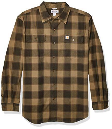 Carhartt Men's Hubbard Flannel Long Sleeve Shirt (Regular and Big & Tall Sizes), Burnt Olive, X-Large