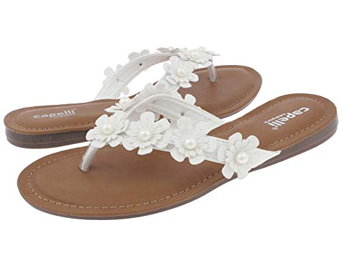Capelli New York Flowers with Pearl Trim Ladies Flip Flop White 10