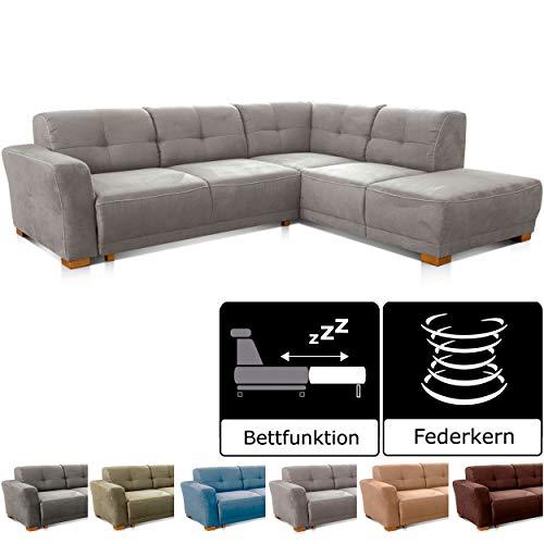 Cavadore Schlafsofa Modeo, mit Federkern, Sofa in L-Form mit Schlaffunktion im modernen Landhausstil, Holzfüße, 261 x 77 x 214, Mikrofaser-Bezug, hellgrau