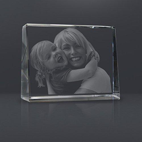 Personello® Glasfoto mit Gravur, originelle Fotogeschenke, Glas Kristall Größe M=105x80x30mm