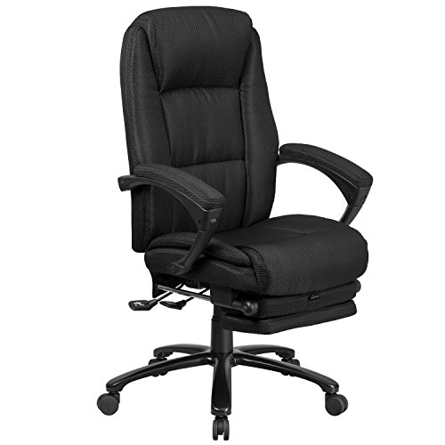 Flash Furniture High Back Black Fabric Executive Reclining Ergonomic Swivel Office Chair with Comfort Coil Seat Springs and Armrests, BIFMA Certified