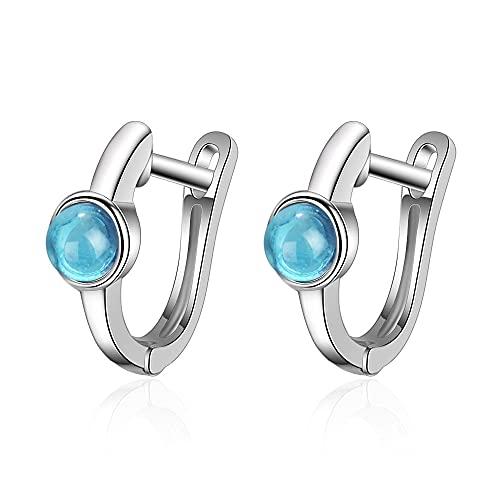 Pendientes de botón de cristal azul de Color plateado a la moda para mujer, joyería de oreja de plata de Corea