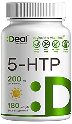5-HTP 200mg Softgels, High Purity & Strength, 3 Months Supply, 180 Counts, Advanced 5 HTP Supplements for Positive Mood, Anxiety and Sleep Aid