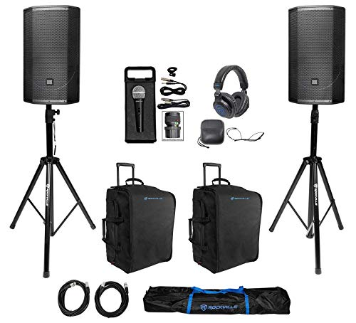 "2 JBL PRX815W 15"" 1500w Powered DJ PA Speakers+Rolling Bags+Stand+Headphones+Mic"