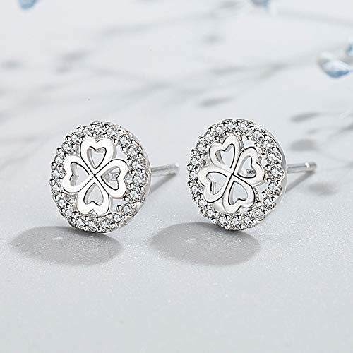 WEIXINMWP Pink diamond leaf temperament lucky four leaf earrings female ear acupuncture jewelry,White diamonds