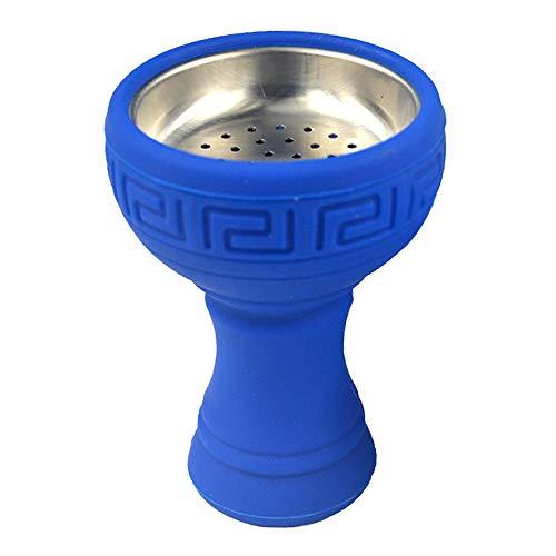 Bol de cachimba de silicio con irrompible de acero inoxidable olor para Shisha accesorios manguera carbón polilla no consejos forma de la flor (azul)