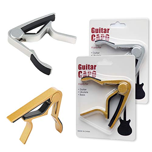 2pcs Guitar Capo for Electric Guitar Fathers Day Gifts Metal Capo for Acoustic, Ukulele Mandolin Banjo Classical Guitar Accessories