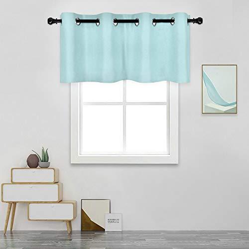 DECOVSUN Aqua Valances for Kitchen Windows - Room Darkening Valances for Window with Grommet 52 by 18 Inch,1 Panels