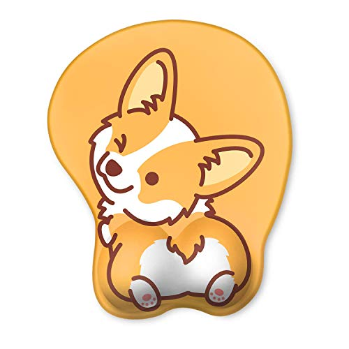 HAOCOO Ergonomic Mouse Pad with Wrist Support Non-Slip Backing Gel Mouse Pad Wrist Rest, Easy-Typing and Pain Relief for Gaming Office Computer Laptop (Cute Corgi)