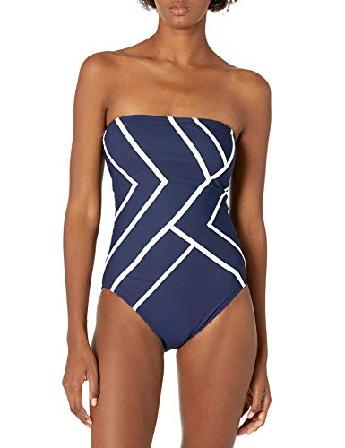 Gottex Women's Piped Bandeau One Piece Swimsuit, Mirage Navy/White, 38