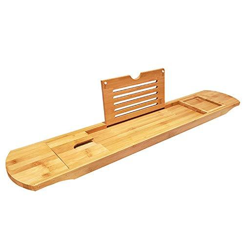 Bandeja de Bambú para Bañera, Estante de Baño, Bandeja de baño Universal con Soporte para iPad/reposa Libros, se Adapta a la Mayoría de Las Bañeras, L70cm X P15.5cm